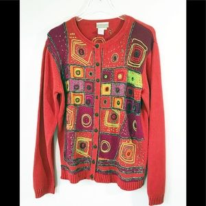 Coldwater Creek Red Cotton Artisan Sweater Large
